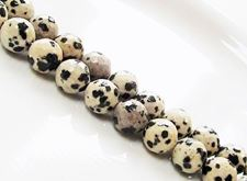 Picture of 10x10 mm, round, gemstone beads, Dalmatian jasper, natural, faceted