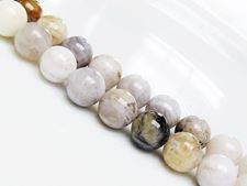 Picture of 10x10 mm, round, gemstone beads, bamboo leaf jasper, natural