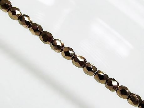 Picture of 3x3 mm, Czech faceted round beads, black, opaque, golden luster