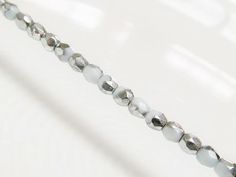 Picture of 3x3 mm, Czech faceted round beads, chalk white, opaque, smoke white, half tone silver mirror