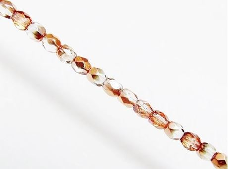 Picture of 3x3 mm, Czech faceted round beads, crystal, transparent, half tone rose gold mirror