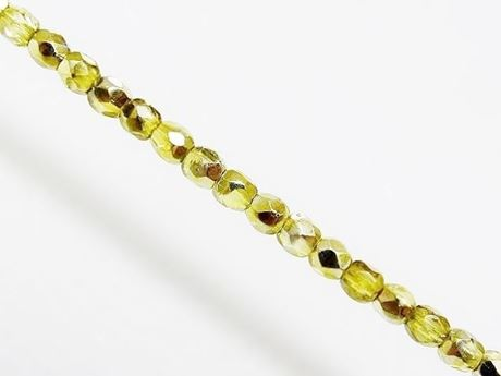 Picture of 3x3 mm, Czech faceted round beads, transparent, lemon yellow luster, half tone mirror