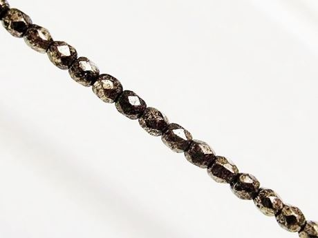 Picture of 3x3 mm, Czech faceted round beads, transparent, grey luster, rusty bronze picasso