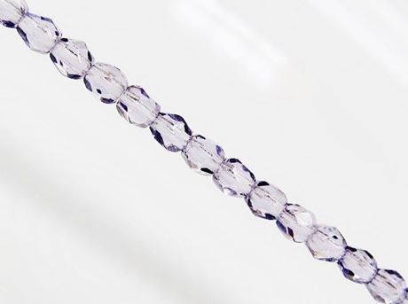 Picture of 3x3 mm, Czech faceted round beads, tanzanite violet blue, transparent