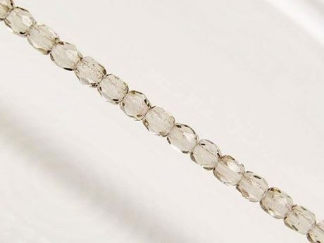 Picture of 3x3 mm, Czech faceted round beads, smoke grey, transparent