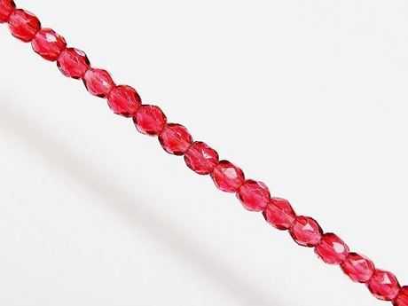 Picture of 3x3 mm, Czech faceted round beads, raspberry red, transparent