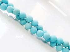 Picture of 6x6 mm, round, gemstone beads, magnesite, turquoise blue, frosted