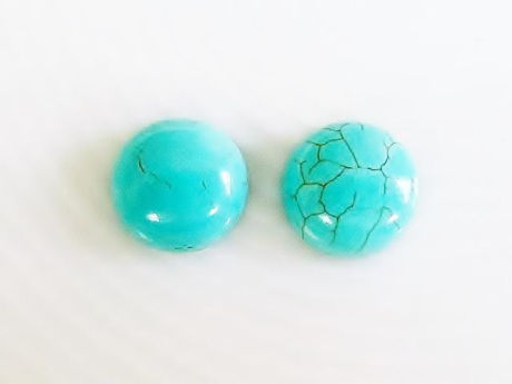 Picture of 10x10 mm, round, gemstone cabochons, magnesite, turquoise