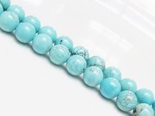 Picture of 8x8 mm, round, gemstone beads, magnesite, turquoise blue