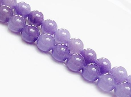 Picture of 10x10 mm, round, gemstone beads, Malaysian jade, rich lavender blue