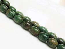 Picture of 8x10 mm, rice, gemstone beads, green jade, natural