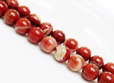 Picture of 10x10 mm, round, gemstone beads, banded red jasper, natural