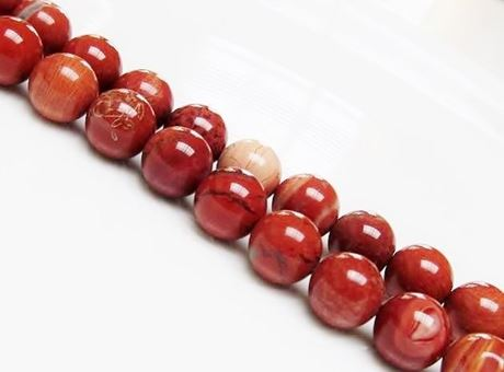 Picture of 10x10 mm, round, gemstone beads, new poppy jasper, natural