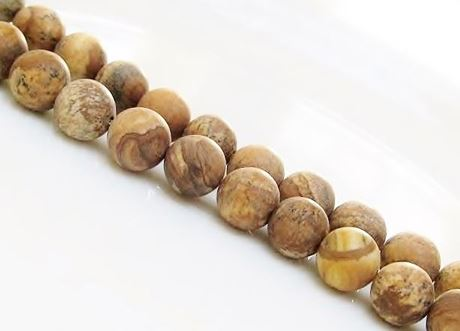 Picture of 10x10 mm, round, gemstone beads, Picture jasper, natural, frosted