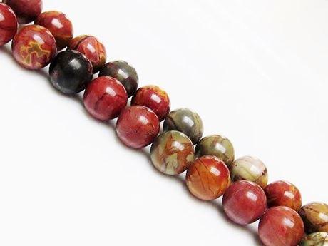 Picture of 10x10 mm, round, gemstone beads, Red Creek jasper, natural