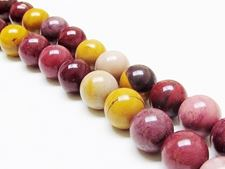 Picture of 12x12 mm, round, gemstone beads, Mookaite Windalia Radiolarite, natural, A-grade