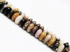 Picture of 4x8 mm, saucer, gemstone beads, silver leaf jasper, natural