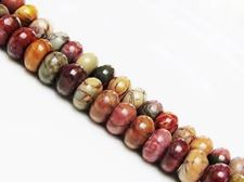 Picture of 5x10 mm, rondelle, gemstone beads, Red Creek jasper, natural