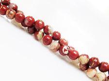 Afbeelding van 6x6 mm, rond, edelsteen kralen, gestreepte rode jaspis, natuurlijk
