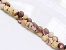 Picture of 6x6 mm, round, gemstone beads, Zebra jasper, brown, natural, frosted