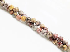 Picture of 6x6 mm, round, gemstone beads, leopard skin jasper or Mexican Rhyolite, natural