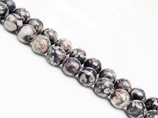 Picture of 8x8 mm, round, gemstone beads, ocean jasper, black, natural