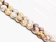 Picture of 8x8 mm, round, gemstone beads, ocean jasper, beige, natural