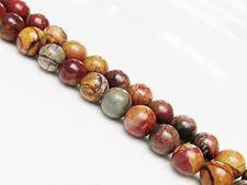 Picture of 8x8 mm, round, gemstone beads, Red Creek jasper, natural
