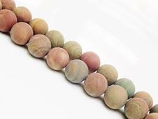 Picture of 10x10 mm, round, gemstone beads, riband jasper, natural, frosted