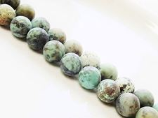 Picture of 8x8 mm, round, gemstone beads, African turquoise, natural, frosted
