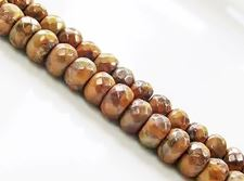 Picture of 5x8 mm, rondelle, gemstone beads, yellow Bamboo leaf jasper, natural, faceted