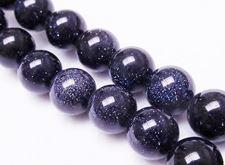 Afbeelding van 10x10 mm, rond, edelsteen kralen, goudsteen, nachtblauw