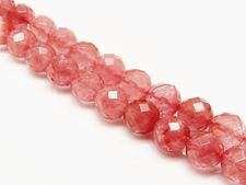 Picture of 10x10 mm, round, gemstone beads, cherry quartz, red, faceted