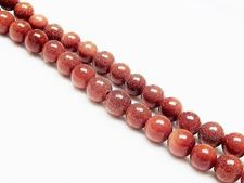 Picture of 8x8 mm, round, gemstone beads, goldstone, red