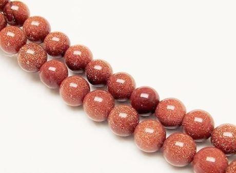 Afbeelding van 10x10 mm, rond, edelsteen kralen, goudsteen, rood