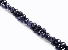 Picture of 4x4 mm, round, gemstone beads, goldstone, midnight blue, faceted
