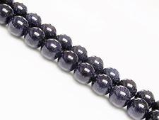 Picture of 8x8 mm, round, gemstone beads, goldstone, midnight blue