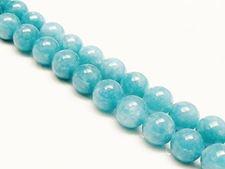 Image de 10x10 mm, perles rondes, pierres gemmes, quartz éponge, bleu sinbad