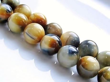 Picture of 10x10 mm, round, gemstone beads, tiger eye, blue grey and butter yellow