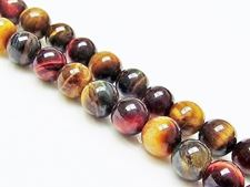 Picture of 8x8 mm, round, gemstone beads, tiger eye, mixed colors, A-grade
