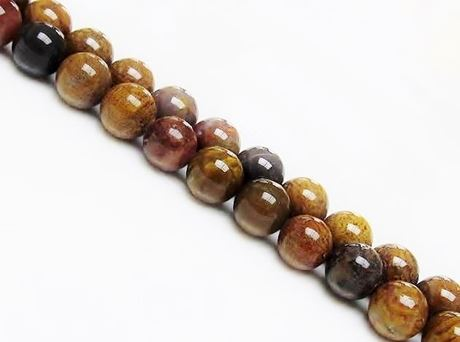 Picture of 10x10 mm, round, gemstone beads, petrified rainbow wood, natural