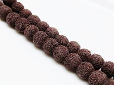 Picture of 10x10 mm, round, gemstone beads, lava rock, dyed deep brown