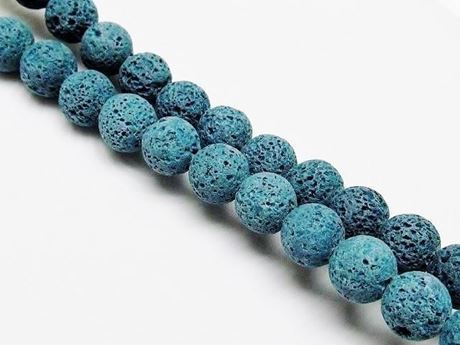 Picture of 10x10 mm, round, gemstone beads, lava rock, dyed green-blue