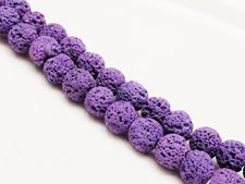 Picture of 10x10 mm, round, gemstone beads, lava rock, dyed royal purple