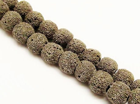 Picture of 10x10 mm, round, gemstone beads, lava rock, dyed warm black grey
