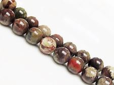 Picture of 10x10 mm, round, gemstone beads, rainforest jasper, rhyolite, natural