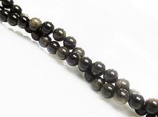 Afbeelding van 6x6 mm, rond, edelsteen kralen, obsidiaan, goud glanzend, natuurlijk