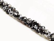 Afbeelding van 6x6 mm, rond, edelsteen kralen, obsidiaan, sneeuwvlok, natuurlijk