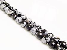 Afbeelding van 6x6 mm, rond, edelsteen kralen, obsidiaan, sneeuwvlok, natuurlijk, in facetten