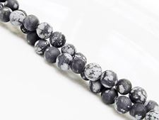 Picture of 6x6 mm, round, gemstone beads, obsidian, snowflake, natural, frosted
